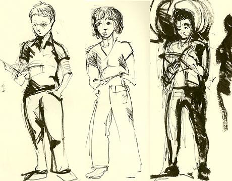 Fra venstre: Susanne Christensen, Ellen Grimsmo Foros og Kristin Berget. Tegnet av Streck, aka Tor-Bjørn Adelgren.
