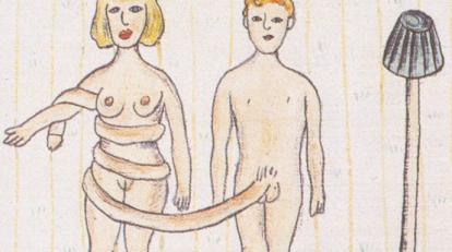 Tegning av Marie-Louise Ekman, fra utstillingen «Gjør som du vil» på Henie Onstad Kunstsenter.