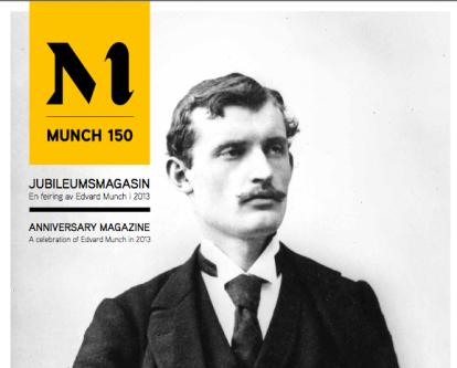 Jubileumsmagasinet Munch150 er både en arrangementskalender og en katalog. Kan hentes gratis på museene, eller lastes ned som PDF.