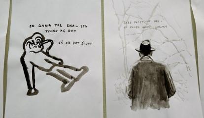 Petter Napstad: Detalj fra tegneveggen «Utitulert» (2013). Foto: Oda Bhar.