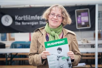 Jeg med Rushprint på Kortfilmfestivalen i Grimstad 2012. Foto: Carsten Aniksdal.