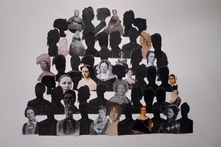 Elevcollage fra Ebba Mois sosiale prosjekt «Vi er alle like (frihet, likhet og fellesskap)».