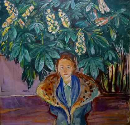 Når botanikere ser på Munch viser det seg at han ikke bare var en ekspresjonist, men også en nøyaktig observatør av naturen omkring seg. I dette bildet ser vi kulturpersoner gjerne en vakker kvinne under et tre, mens en botaniker ser at treet er midt under pollinering: De rosa blomstene er befruktet, de hvite ennå ikke. Edvard Munch: «Under kastanjetreet» (1937).