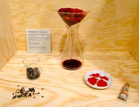 Monter som viser prosessen bak fargen karminrød, hvor basisen er en spesiell type lus fra Mexico, først brukt av aztekerne. Idag går det an å produsere en liknende farge syntetisk, men karminrødt brukes fortsatt blant annet i kosmetikk. Foto: Oda Bhar.