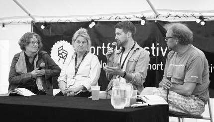 Fra venstre: Oda Bhar, Aslaug Vaa, Anders Øvergaard og Kalle Løchen. Foto: Morten Espeland / Kortfilmfestivalen.