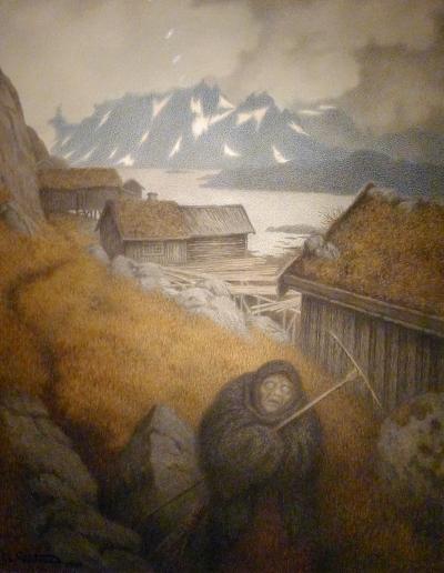 Utsnitt fra «Pesta farer landet rundt» (1904) av Theodor Kittelsen.