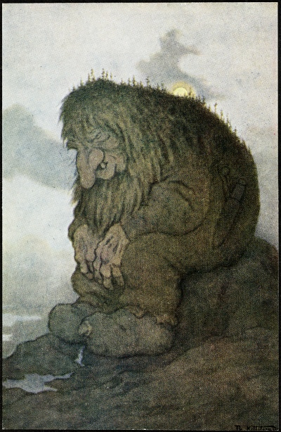 Theodor Kittelsen: «Trollet som satt og grunnet på hvor gammelt det er» (1911).